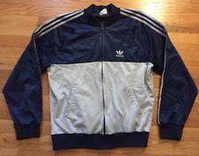 Vintage 70s 80s ADIDAS Men's Warm Up Zip-Up Blue Color Jacket. Size L  USA. Made