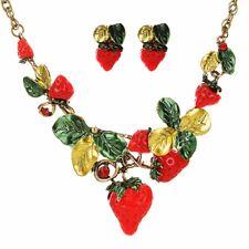 Women Strawberry Choker Collar Chain Pendant Statement Bib Necklace Earring Set