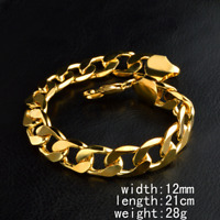 Fashion Unisex Jewelry 18K Gold Plated Wide Rings Bangle Chain Bracelet 12MM