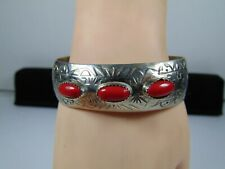 New ListingGorgeous Sterling Silver Navajo Crafted Cuff Bracelet With 3 Coral Stones
