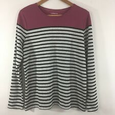Croft Barrow T Shirt  SZ XL Long Sleeve Striped Classic Multi Color Casual C94