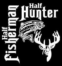 Half Fisherman Fish Half Whitetail Deer Hunter White Vinyl Decal Car Truck