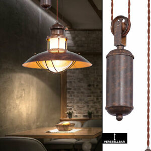 Landhaus Decken Hänge Lampe rost Wohn Zimmer Zugpendel Leuchte höhenverstellbar