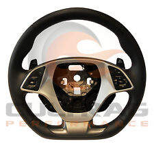 2014-2018 C7 Corvette D Shaped Steering Wheel Manual Leather Spice Red Stitching