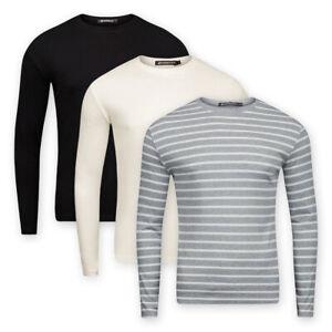 Men Long Sleeve Crew Neck Jersey Cotton Top Casual Base Layer T-Shirt Sweatshirt