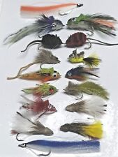 Pike and Bass Flies -Set of 16 + Fly Box Size 4 up to 3/0 with weed guards #PIK1