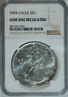1994 American Silver Eagle Dollar $1 / .999 Pure / Certified NGC GEM BU 🇺🇸