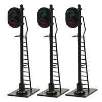 3pcs Model Railroad HO Scale Train Signals 2-Lights 1:87 Block Signal Green/Red