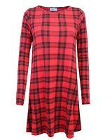 LADIES WOMENS TARTAN CHECK PRINTED FLARED STRETCH SWING MINI RED DRESS TOP 8-14