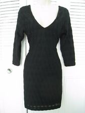 New. H&R LITTLE BLACK SHEATH DRESS, 3/4 SLEEVES, V NECKLINE, LOW-CUT BACK,size M
