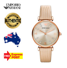 Emporio Armani AR1681 Rose Gold Cream Leather Band Ladies Women Watch New in Box