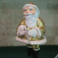 D56 Paper Mache Santa Dressed in Gold Ornament 6 inches Hand Painted w tag