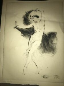 20th Century Etching/ Drawing Of 20's Flapper Dancer, signed by artist