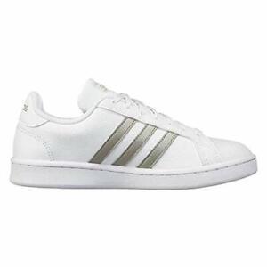 Adidas Men's Shoes Grand court Low Top, White/Platino Metallic/White, Size 8.0 5