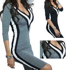 Fashion Women Bandage Bodycon Long Sleeve V-neck Cocktail Mini Dress Party Lady
