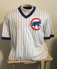 VTG CHICAGO CUBS MAJESTIC PINSTRIPE JERSEY T-SHIRT White Blue EXTRA LARGE V-Neck