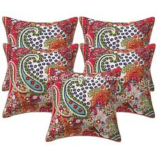 Indian Cotton Embroidered Pillow Covers 16 x 16 Kantha Paisley Cushion Cover
