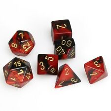 CHESSEX GEMINI DICE - 7 DIE SET Black-Red with Gold D20 D10 D4..