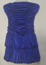 SEQUIN HEARTS ROYAL BLUE STRAPLESS TUBE FOLDED MINI DRESS PROM RUFFLE GOWN