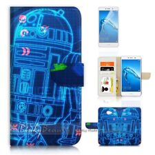 ( For Huawei Y7 ) Wallet Case Cover P21019 Starwars R2D2