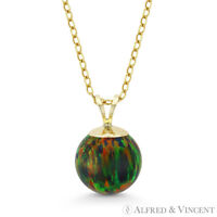 Fiery Black Opal #4 Ball Bead Solitaire 14k Yellow Gold Pendant & Chain Necklace