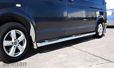 To Fit 2015+ LWB Volkswagen T6 Transporter Caravelle Steel Side Bars + Step Pads