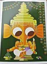 Hindu God Ganesha Poster 15x11 Offset Lithograph Unsigned-Sanjay Patel