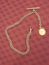 Heavy 9ct & 22ct Rose Gold Allbert Chain with Half Sovereign 48.2g (gross)