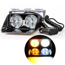 14 Mode Car 8 LED Amber/White Car Dash Strobe Beacon Emergency Warn Flash Light