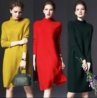 Chic Womens Winter Long Sleeve Jumper Knitted Sweater Loose Tunic Mini Dresses