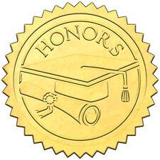 """Elegant GOLD embossed foil certificate seals """"HONORS"""" - 50 pack"""