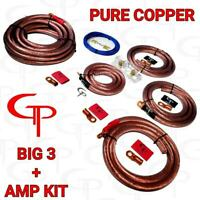 1/0 Big 3 Upgrade + Amp Wiring install kit Pure Copper GP Car Audio Clear Jacket