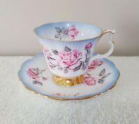 Royal Albert Bone China Tea Cup and Saucer Set Pink Sweetheart Roses Blue Trim