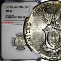 Philippines U.S. Administration Silver 1944 D 10 Centavos NGC AU58 KM#181