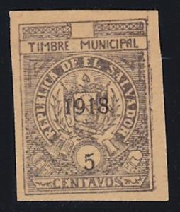 EL SALVADOR 1918 MLH - MUNICIPAL TAX STAMP