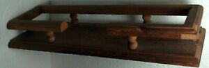 """Wooden shelf w/railing for flat surface display No Brand 18""""x6""""x2 3/4"""" used VG"""