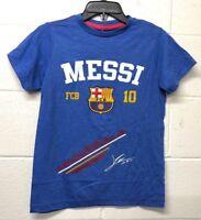 NWT FCB Barcelona Lionel Messi Soccer T-SHIRT Football Blue T-shirt KIDS S-XL
