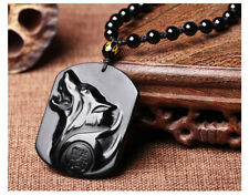 Hand Carved Natural Genuine Obsidian Howling Wolf Head Amulet Pendant Necklace