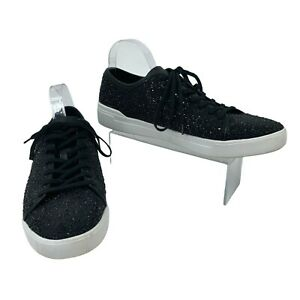 Aldo Speckled Sparkle Jeweled Sneakers Men's Size 12 Black Low Top Casual Shoes