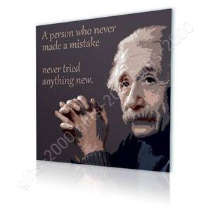 Albert Einstein Quotes #3 Mistake by Alonline DSN | Canvas (Rolled) | Wall art