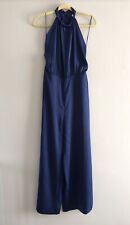 Zara Blue Satin Jumpsuit Halter Neck Size M Medium