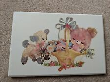 Vintage Water Decal Pink Teddy Bear & Lamb Wall Hanging-Spring/Nursery