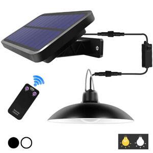 Solar Power Pendant Light Remote Control Waterproof Outdoor Retro Garage Lamp