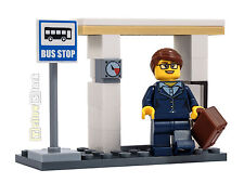 LEGO® City Bus-Haltestelle mit Figur Fahrgast Dame Bus Stop MOC NEU