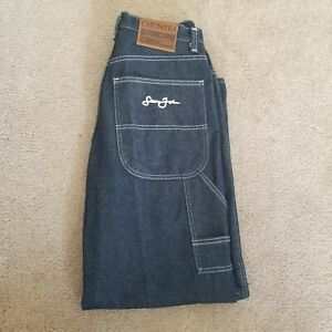 Vintage Sean Jean Mens Denim Jeans Carpenter Pocket Dark Wash Logo Size 34