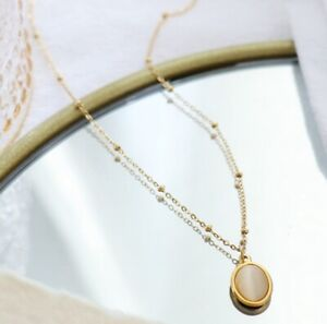 """Women Girl Titanium Stainless Steel White Opal Oval Gold Coin Necklace 16-18"""""""