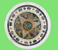 2'X2' ROUNDMARBLE DINING COFFEE SIDE CORNER CENTER  TABLE TOP MOSAIC INLAY WORK