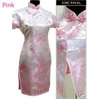 Women Traditional Chinese Silk Satin Floral Mini Dress Cheongsam Qipao Elegant