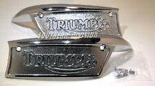 Triumph Tank badges 82-9700 82-9701 pair F9700 F9701 chrome not painted 1968-80