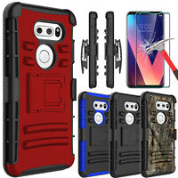 For LG V35/V35+ ThinQ Case With Kickstand Holster Belt Clip + Screen Protector